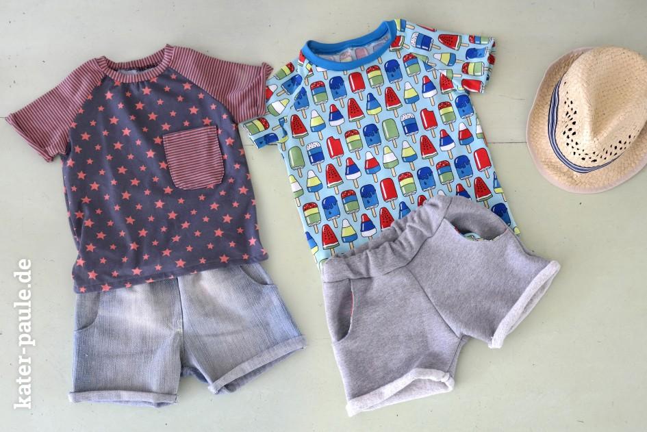 EmJo Summer Set / Shorts + T-Shirt / Sterne / Streifen / Eis am Stiel / Popsicle / Jeans / Sweat / Jersey / Kater Paule / Nähgedöns
