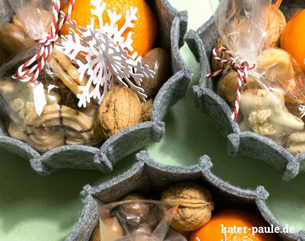 Kater Paule / Filzschale / Mondbresal / eBook / Weihnachtsgeschenk / Filz / Schneeflocken / Plotterfreebie