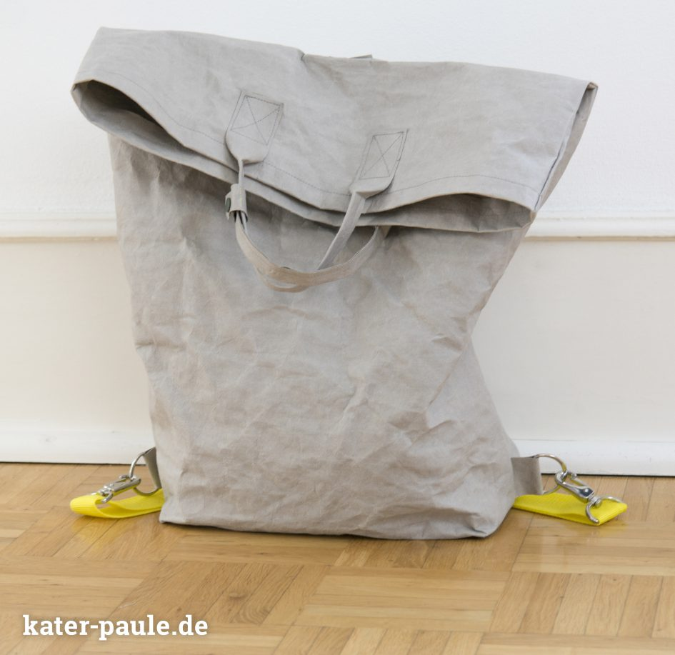 RatzFatz / Rucksack / Backpack / Taschen / Handmade / Sommer / Gelb / Zitronengelb / Stone Gray / SnapPap Plus / SnapPap / KAM Snaps / Snaply / Kater Paule / Nähgedöns