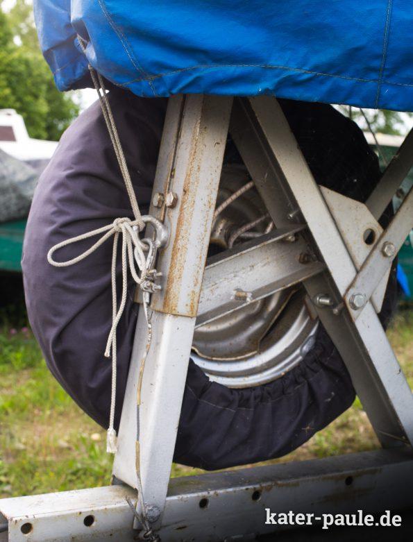 Nähen mit Angeschnur - Ersatzradhülle selber nähen - wetterfestes Garn