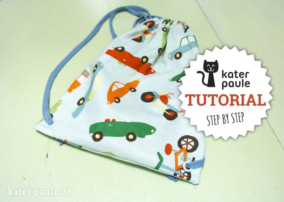 Ein kleiner Turnbeutel für den Kindergarten mit Anleitung Tutorial. Schnell genäht und ein tolles kleines Projekt für Nähanfänger // Riley Blake / Snaply / Hipsterbeutel / Nähgedöns / Kater Paule