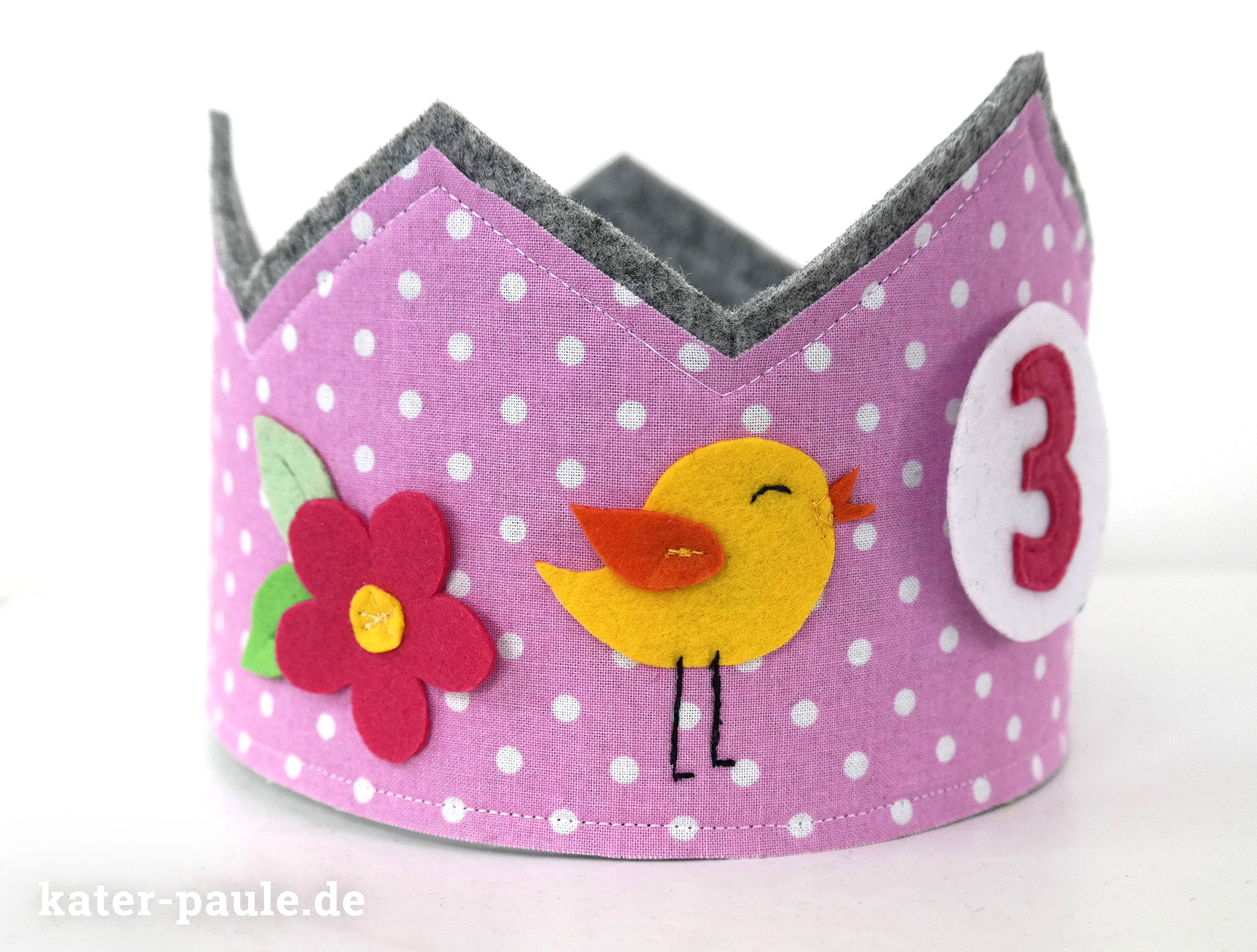 Geburtstagskrone aus Filz / birthdaycrown / felt crown/ Prinzessinenkrone / princess for a day / Krone für Mädchen / Freebook